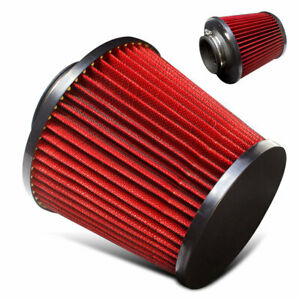 Universal 2 75 Inch High Flow Air Intake Turbo Suercharger Red Black Filter Jdm