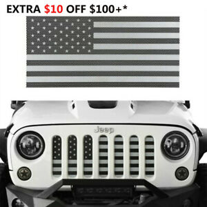 Grill Insert American Flag Grille Screen For 07 18 Jeep Wrangler Jk black White