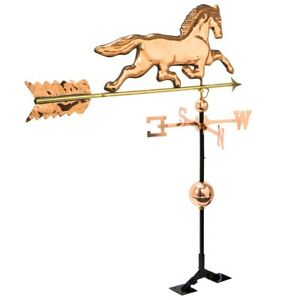 3 8ft Large Copper Plated Horse Weathervane Roof Mount Polished Weather Vane