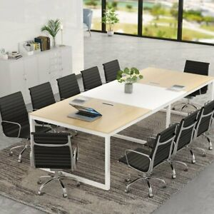 Minimalist Style Conference Table With Steel Frame Legs Durable Wood Tabletop