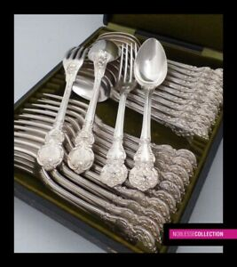 Antique 1880s French Silver Plated Dessert Flatware Set 24 Pieces Rococo Style