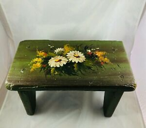 Old Primitive Folk Art Artist Signed Hand Painted Daisies Wood Foot Stool Bench
