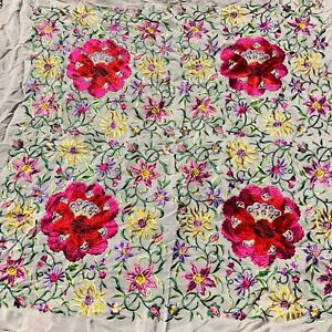 Vintage Canton Piano Flamenco Shawl Scarf Bright Embroidered Flowers Peach Silk