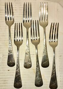 Beautiful Gorham Sterling Set Of 6 Bright Cut Coin Silver Dinner Forks 1870s