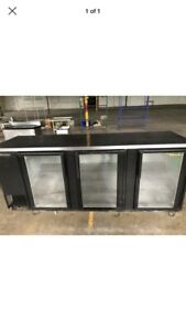 True 96 3 Door Glass Back Bar Cooler Refrigerator