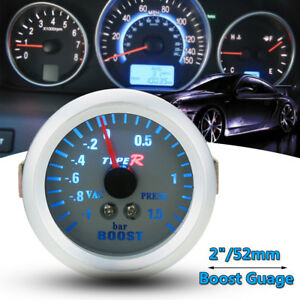 2 52mm Universal Blue Led Light Car Turbo Boost Vacuum Press Meter Gauge