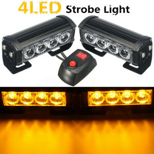 4 Led 12v Car Amber Strobe Flash Grille Light Warning Hazard Emergency Lamp