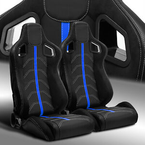 2 X Reclinable Pvc Leather blue Strip Left right Racing Bucket Seats Slider