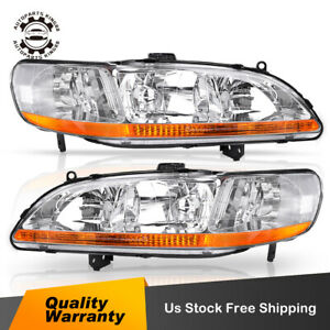 For 1998 2002 Honda Accord 2 4dr Chrome Headlights Headlamp Assembly Replacement
