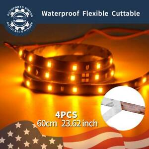 4x 60cm 24 Car Motor Flexible Yellow Led Light Strip High Power Waterproof 12v
