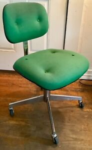 Steelcase Office Chair Executive Desk Green Swivel Rolling Mcm Vtg Mid Century