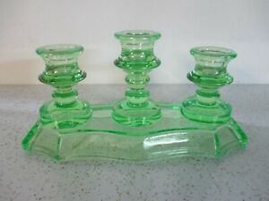 Green Depression Glass Candlestick Holder Three Candles Vaseline Uranium Glows