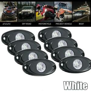 8pcs Cree 9w White Led Rock Light Bright Wheel Rv For Jeep Boat Off Road Tr