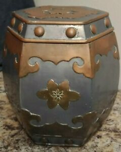 Antique Chinese Pewter Brass Hexagonal Barrel Shape Tea Caddy With Lid