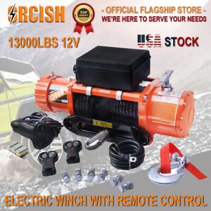 Orcish 13000lbs 12v Electric Winch Waterproof Synthetic Cable Truck 4wd Offroads