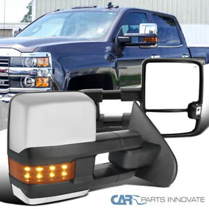 For 14 16 Silverado Sierra Clear Power Heated Tow View Mirrors Amber Led Signal