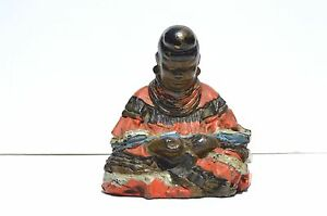 Rare Antique Hand Painted Cast Iron Figural Buddha Door Stop Bookend
