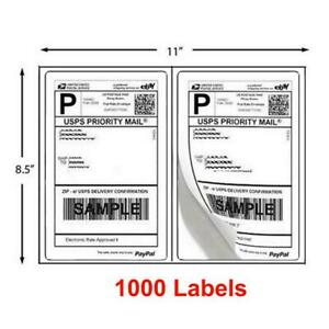 1000 Half Sheet 8 5 X 5 5 Shipping Labels 2 Sheet Self Adhesive Round Corner