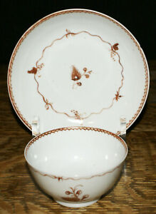 18th Century Chinese Export Tea Bowl Saucer With A Thistle Motif Red Trim