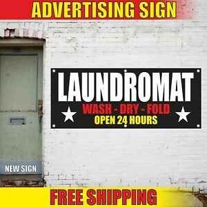Laundromat Advertising Banner Vinyl Mesh Decal Sign Wash Dry Fold Open 24 Hours