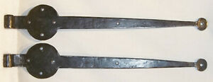 Signed Antique Hand Forged Iron Bean End Door Hinge Gate Mission Arts