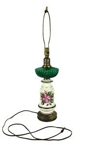 Vintage 30 Tall Lamp Green Glass Ceramic Flowers Brass Tone Punched Metal Base