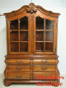 Ethan Allen Tuscany Bombay China Cabinet Breakfront Hutch Curio Display