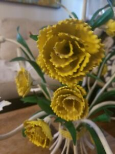 Vintage Italian Mid Century Tole Yellow Flowered 5 Arm Chandelier Lovely Piece