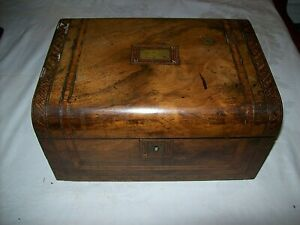 Beautiful Victorian Inlaid Walnut Sewing Casket Box With Contents