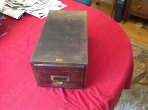 Rare Early 1900 S Vintage Weis Library Catalog File Drawer Box Mahogany