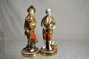 Rare Pair Japanese Kutani Imari Meiji Porcelain Figure S Man Woman Squeeze Bag