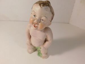 Vintage Bisque Piano Baby Figurine 6 Inches Tall Unmarked