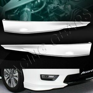 Hfp Style Painted White Front Bumper Spoiler Lip 2pcs Fit 13 15 Honda Accord 4dr