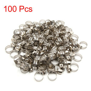 100 Pcs Car Adjustable 13 19mm Drive Hose Clamp Fuel Line Pipe Tube Tight Clip