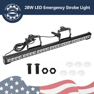 31 28 Led Emergency Flash Strobe Led Light Bar Traffic Advisor Amber 12 24v