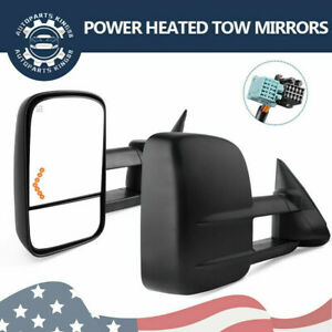 Pair Tow Mirrors Compatible 03 07 Chevy Silverado Gmc Sierra 1500 Power Heated