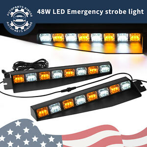 48w Amber White Led Visor Light Hazard Emergency Windshield Strobe Light Bar 12v
