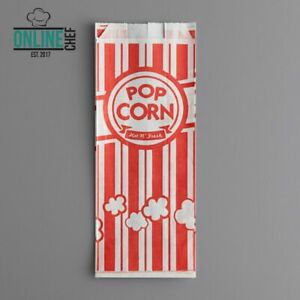 Grease Resistant Printed Paper Popcorn Bags Restaurant Home 1000 Pack Red 1 Oz