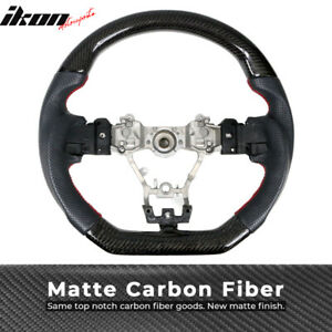 Fits 15 19 Subaru Wrx Steering Wheel Matte Cf Perforated Leather Red Stitching
