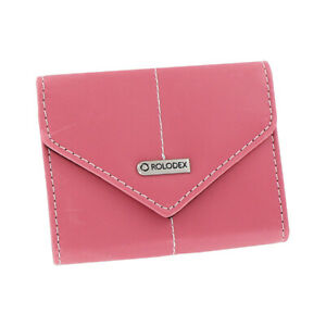 Rolodex Resilient Business Card Storage Case Faux Leather Pink 36 Card Capacity