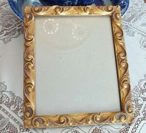 Vintage Carved Wood Gold Gilt Picture Frame With Glass 11 1 2 X 9 1 2