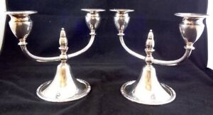 Two I S Camille Silver Plate Candelabra Candlestick Holders