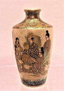 Very Fine Antique Miniature Signed Japanese Satsuma Pottery Vase With Figures