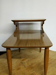 Vintage Mid Century Modern Formica End Table 2 Tier Step Up Side Tapered Legs