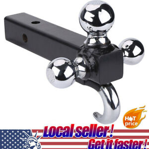 Triple 3 Ball Trailer Hitch Tow 2 Receiver Mount W Hook 1 7 8 2 2 5 16