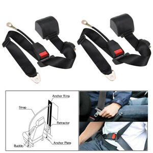 1pair Universal Adjustable Retractable 3point Safety Auto Car Seat Belt Lap Belt