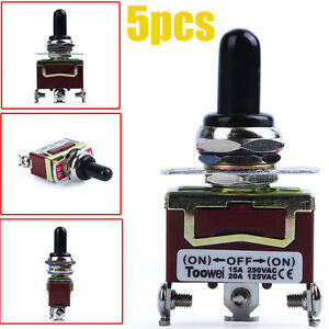 5pcs Heavy Duty 20a 125v Spdt 3 Term On off on Momentary Toggle Switch W boot