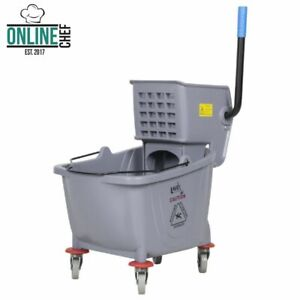 Commercial Wet Mop Bucket Wringer Combo 35 Quart Gray Janitorial Hotel Home