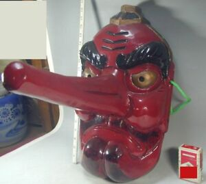 Tengu Mask 600 Japanese 45 5cm Wood Red Long Nose Oni Demon Noh Kagura Kyogen