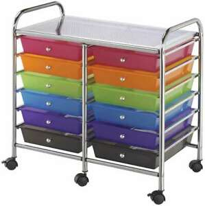 Double Storage Cart W 12 Drawers 25 5 x26 x15 5 Multicolor 088354807636